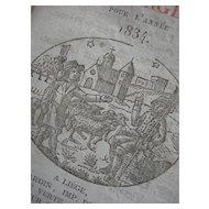 Antique 1834 Almanac - hand block printed plates of each month - Liege, Belgium