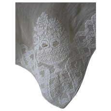 Antique French hand embroidered whitework muslin fichu collar - monogram A