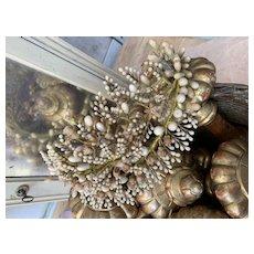 19th century French wax flower wedding crown