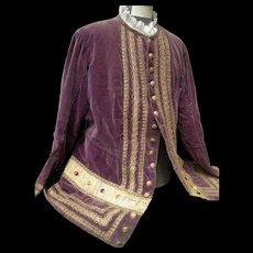 Antique 19th century French velvet theatre costume jacket courtier