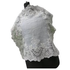 Antique French 19th century handmade Point de Gaze lace wedding handkerchief with intricate monogram