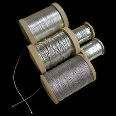 5 wooden reels antique French silver & pewter tones metallic embroidery thread needlework