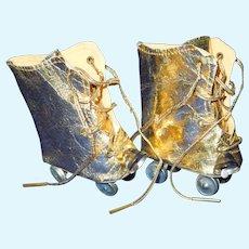 """Vintage Gold roller skates for 16"""" Terri Lee doll"""