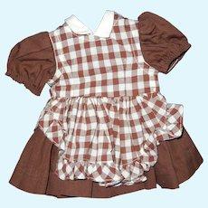 """Vintage 16"""" Terri Lee doll brown dress + pinafore"""
