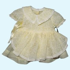 """yellow organdy dress and slip for 16"""" Terri Lee doll"""