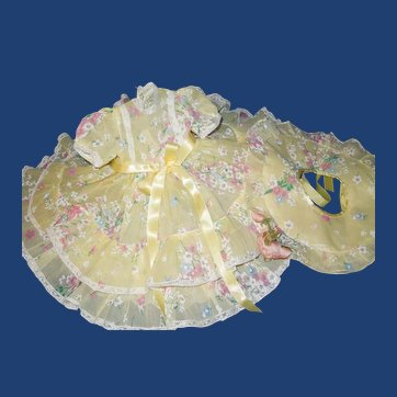 Vintage Terri Lee Doll Garden Party dress, hat and slip