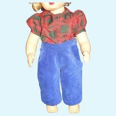 "Vintage 16"" Terri Lee doll silk plaid blouse and corduroy pants"