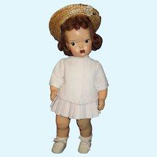 "Vintage 16"" Terri Lee painted plastic doll  in loopy tagged summer suit"