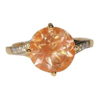 Untreated Sunstone 14K Gold Ring Diamond Accents