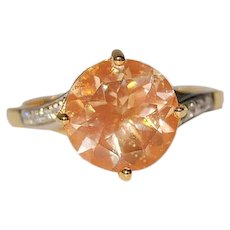 3ct Untreated American Sunstone 14K Gold Ring Solitaire with Diamonds