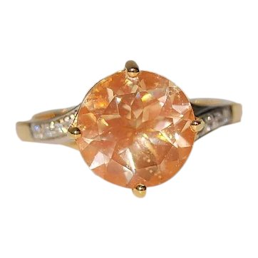 3ct 14K Gold Untreated American Sunstone Ring Solitaire with Diamonds
