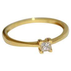 Untreated Diamond Square Cut 18K Gold Ring