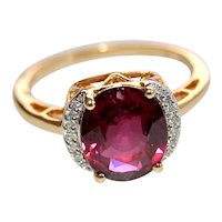 Natural Untreated Rhodolite Garnet 18K Gold Ring Diamond Accents 3.60cts