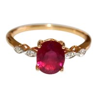 18K Gold Rubbellite and Diamond Engagement Ring Collectors Red Carpet Jewelry