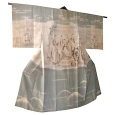 Rare 1930 Japanese Kimono, Kano School Seven Sages, Authentic Robe, Asian tapestry, Wall hanging