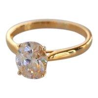 Alternative Diamond 14K Gold Solitaire Engagement Promise Ring Modernist Brilliant Cut