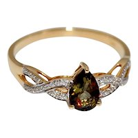 Natural Untreated Andalusite 14K Gold Ring Solitaire Pear Cut with Diamonds