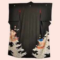 Antique Japanese Silk Kimono with Ho-O Bird Phoenix Dragon Treasure Boats
