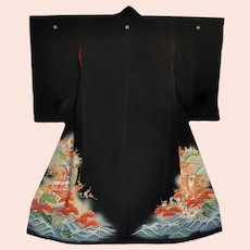 1940s Japanese Silk Kimono with Sea Waves Treasure Boats Pavilion Black