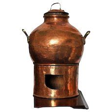 Antique Copper Egyptian Dish Cooking Bean Pot with Lid and Burner