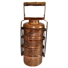 Antique Indian Copper Dabba Hand Engraved Four Compartments Tiffin Box