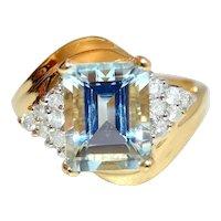 Aquamarine 3cts Emerald Cut 14K Gold Ring Diamond Accents
