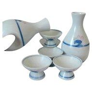 Sakazuki Sake Set, Japanese Arita Imari Porcelain Tokkuri Cups