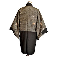Japanese Army Kimono Haori with Soldiers and Flag Military Mens Uniform