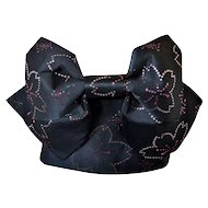 Black Kimono Obi Sash Belt with Cherry Blossom and pre-tied Bow