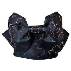 Black Kimono Obi Sash Belt with Cherry Blossom and pre-tied Bow