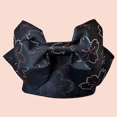 Kimono Obi with Pre-tied Bow Set Black Sash Belt with Cherry Blossom