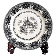 Staffordshire Toile Black Plate Earthenware with Equestrian Transferware circa 1950