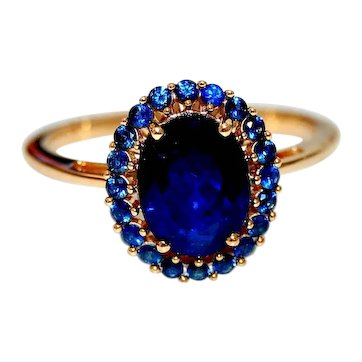 Estate Burma Blue Spinel with Blue Sapphires Halo Engagement Ring 2.35cts Solitaire
