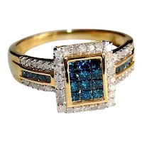 Blue and White Natural Diamond Rectangular Ring 1 carat total