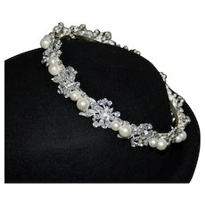 Vintage Regal Bridal Hair Circlet with Pearls