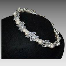 Vintage Regal Bridal Hair Circlet with Pearls