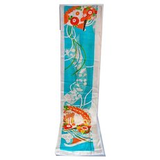 Japanese Hanayome Noren Silk Fabric 2 Panels, Doorway Curtain Wall Decor