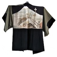 Men's Formal Silk Kimono with Nijubashi Bridge at Japanese Imperial Palace and Mount Fuji