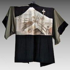 Men's Formal Silk Kimono with Nijubashi Bridge at Japanese Imperial Palace and Mount Fuji