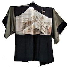 Silk Kimono with Nijubashi Bridge at Japanese Imperial Palace and Mount Fuji