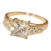 Brilliant Untreated Clear Sunstone Diamond Ring