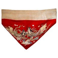 Antique Uchishiki Buddhist Altar Cloth with Maiden Virgins of Heaven