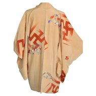 Tibetan Buddhist Japanese Kimono, Manji, Silk Robe Final Sale
