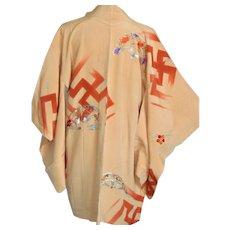 Japanese Buddhist Holy Kimono Robe with Tibetan Manji