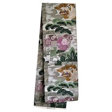 Buddhist Temple Motif Japanese Obi with Dragon, Phoenix and Dharma Wheel