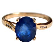Rare Burma Natural Blue Spinel 10k Gold Engagement Ring