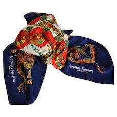 Carolina Herrera Multicolor New York Silk Scarf Wrap