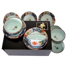 Cherry Blossom Shaped Celadon Arita Imari Cups and Saucers in Lacquered Wood Box - Set of 10