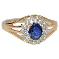 Natural Untreated Ceylon Blue Sapphire Ring with Diamond Accents