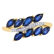 Ceylon Sapphire and Diamond Promise Ring Vine Band
